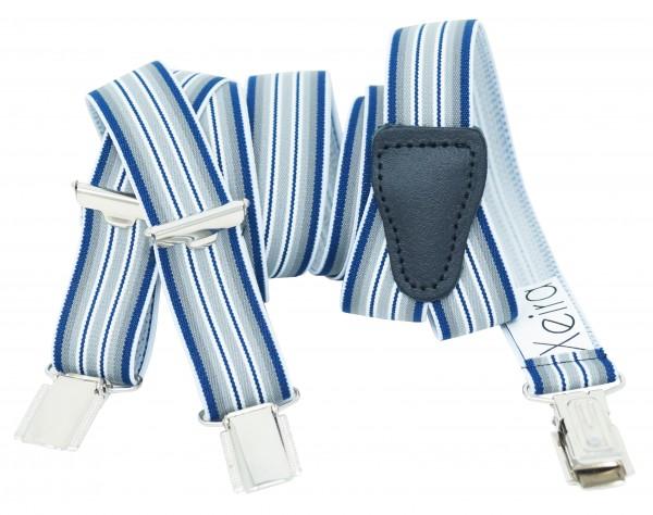 Hosenträger 25mm Breite Gestreiften Farben Design und 3 Clips Blau / Grau Standard - 110cm