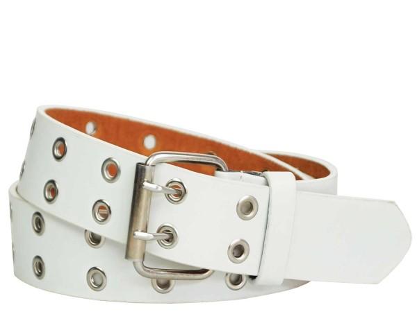 Nietengürtel mit Metall Ösen und 2-Dornen Schließe