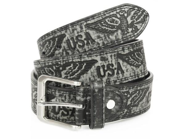 Gürtel in USA / Adler Design - 4cm Breit - Schwarz