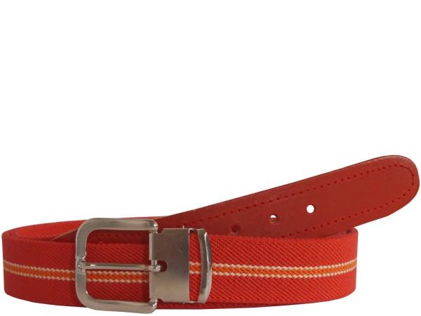 Stretchgürtel / Stoffgürtel - Rot / Orange gestreift mit rotem Leder