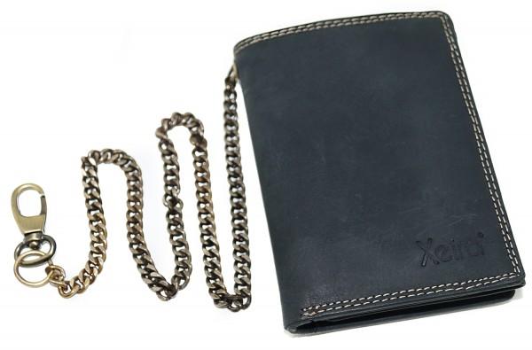 Vintage Geldbörse mit Kette aus 100% Echt Leder Schwarz / Braun im Hochformat