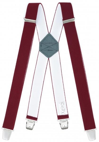 Hosenträger mit 4 XL Clips Extra Lang Bordeaux