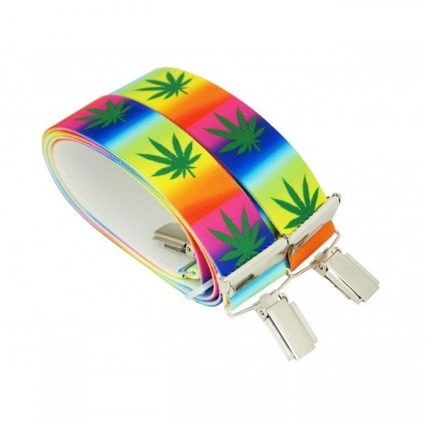 Hochwertige Hosenträger in Cannabis Multicolor Design mit 4 Clips