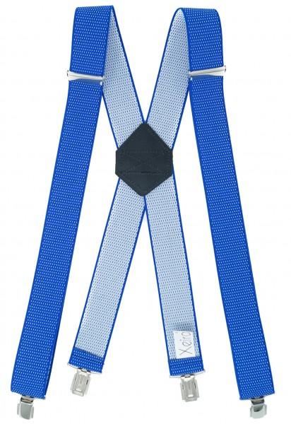 Hosenträger X Design 4 Clips Königsblau / Weiß Punkte - 120cm