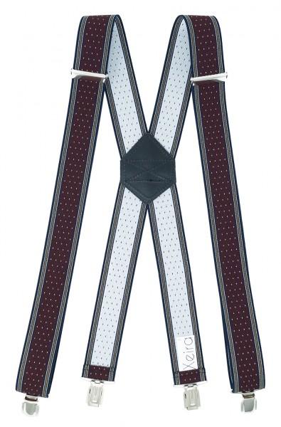 Hosenträger X Design 4 Clips Bordeaux / Weiße Punkte - 120cm