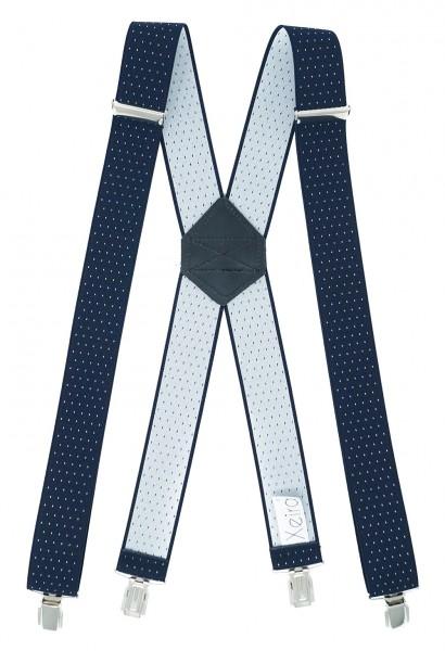 Hosenträger X Design 4 Clips Dunkel Blau / Weiße Punkte - 120vm