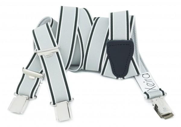 Hosenträger 25mm Breite Gestreiften Farben Design und 3 Clips Grau / Grün Standard