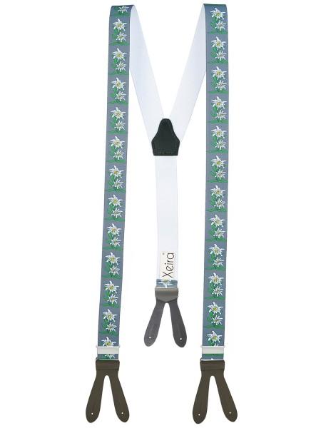 Hochwertige Hosenträger Edelweiß Design mit Lederriemen