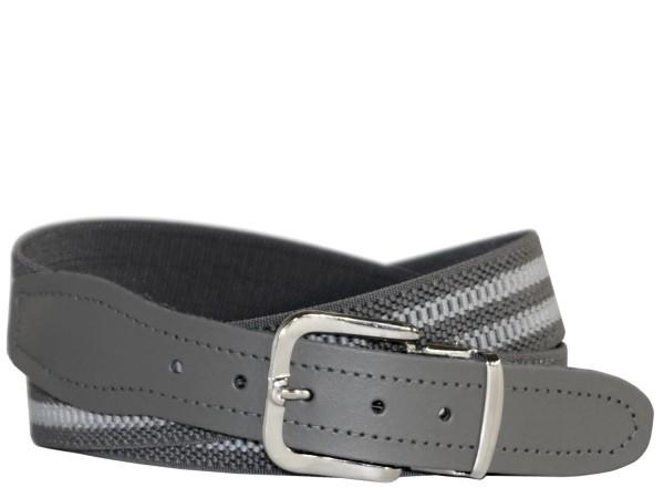 Stretchgürtel / Stoffgürtel - Grau gestreift mit grauem Leder
