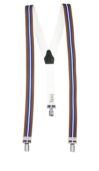 Hosenträger in Braun - Blau - Weiß Streifen Design