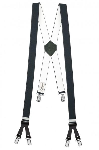 Hosenträger in X Form mit 6 Clips und Lederriemen Dunkelgrau 110cm