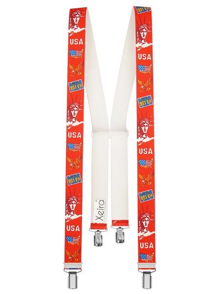Hochwertige Hosenträger in USA Rot - Freiheitsstatue Design mit 4 Clips