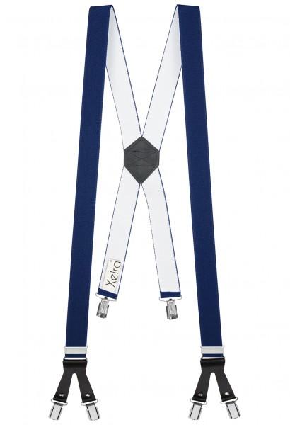 Hosenträger in X Form mit 6 Clips und Lederriemen Dunkelblau 110cm