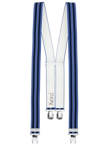 Hosenträger in Rot / Grün / Blau Gestreiften Design mit 4 XL Clips