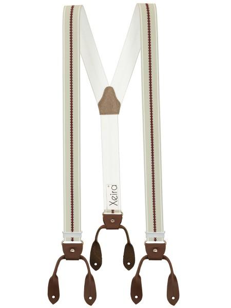 Hosenträger in Vintage Hell Grau / Bordeaux Design mit Lederriemen