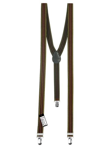 Hosenträger in Schwarz / Gelb / Bordeaux Gestreiften Design