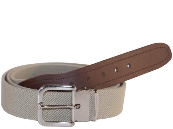 Stretchgürtel / Stoffgürtel - Uni Beige mit braunem Leder
