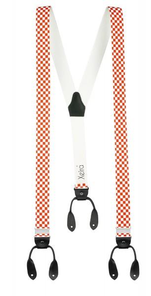 Hosenträger in Vintage Kariert Design mit Lederriemen