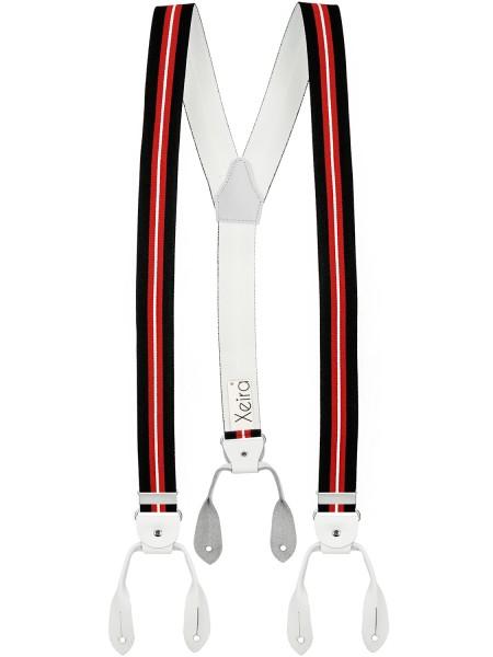 Hosenträger in Schwarz- Rot und Blau - Weiß Design mit Lederriemen