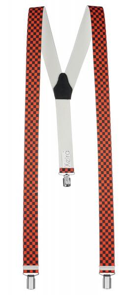 Hochwertige Hosenträger in Schwarz / Orange Kariert Design