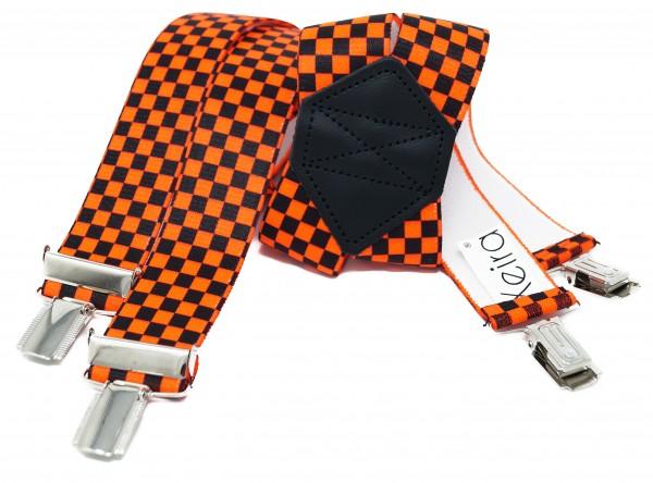 Kariert X Form Hosenträger in Neon Farben und Karierten Design mit 4 Clips Neon Orange 110CM