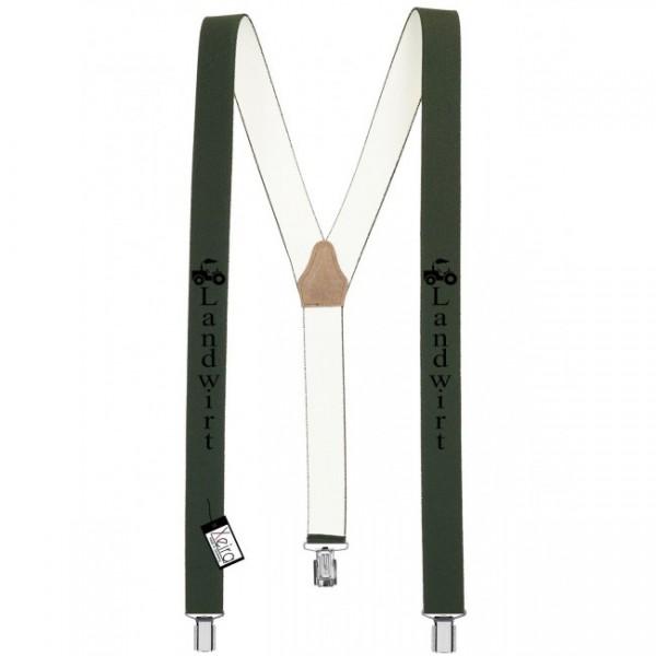 Hosenträger Landwirt Design mit 3 Clips von Xeira -Dunkel Grün