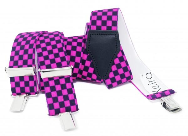 Hosenträger in Neon Farben Kariert Design mit 3 Clips Neon Pink NL