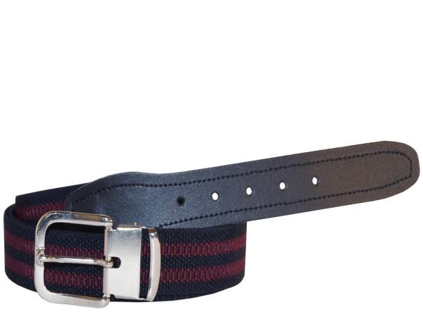 Stretchgürtel / Stoffgürtel - Schwarz / Rot gestreift mit schwarzem Leder