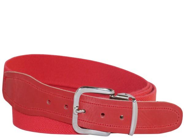 Stretchgürtel / Elastikgürtel in Uni Rot mit Rotem Leder