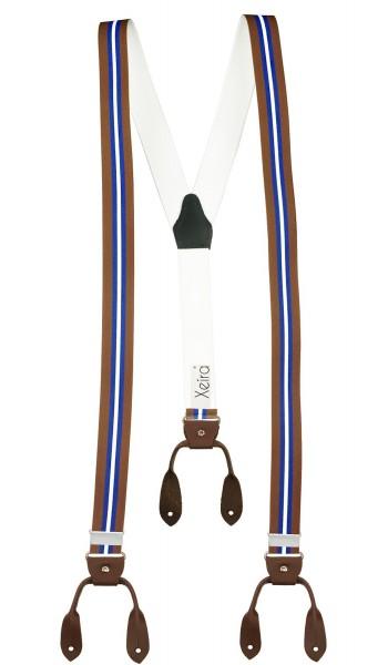 Hosenträger in Gestreift Design mit Lederriemen