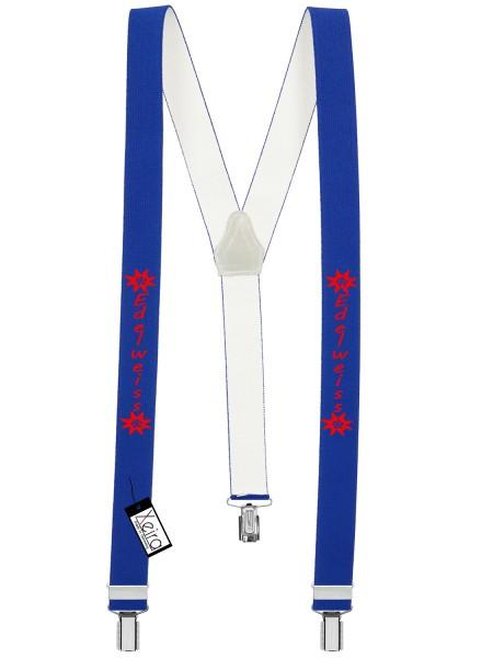 Hosenträger Edelweiss Design mit 3 Clips -Königsblau