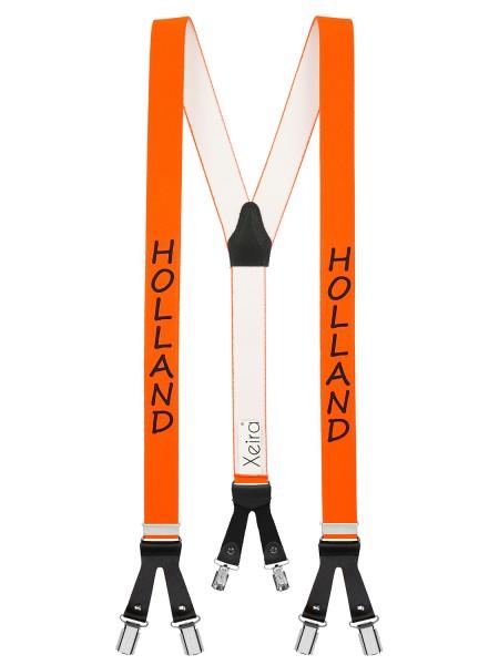 Hosenträger in Länder Design mit 6 Clips und Lederriemen -Holland