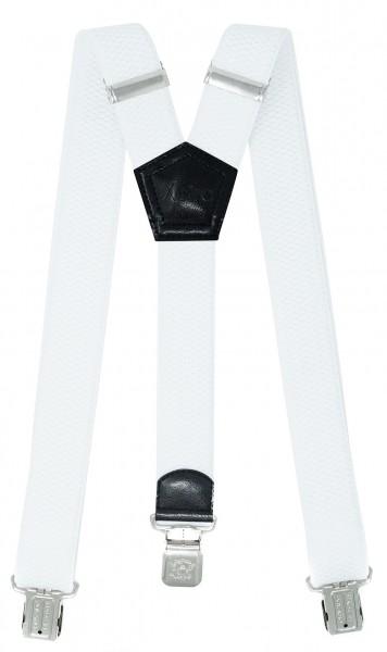 Hosenträger mit 3 Adler Clips 40mm Breit - Weiß