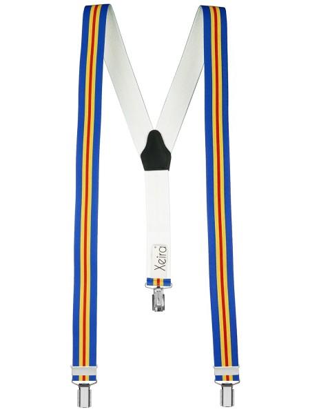 Hosenträger in Blau - Gelb - Rot Streifen Design