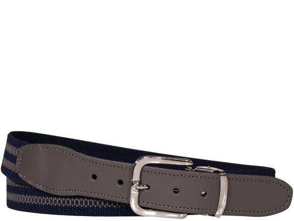 Stretchgürtel / Stoffgürtel - Blau / Grau gestreift mit grauem Leder