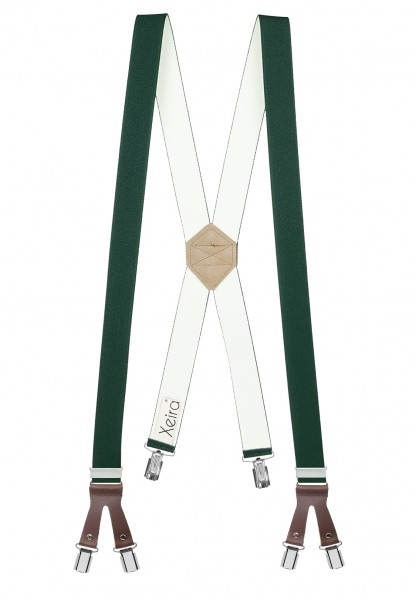 Hosenträger in X Form mit 6 Clips und Lederriemen Dunkelgrün 110cm