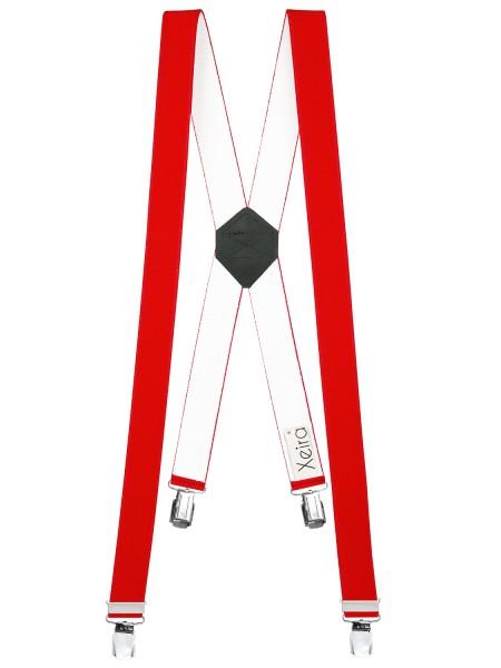 Hosenträger X-Design in Uni Farben mit 4 XL Clips Rot 110cm