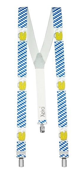 Hosenträger in Bayern & Bier Design mit 3 Clips