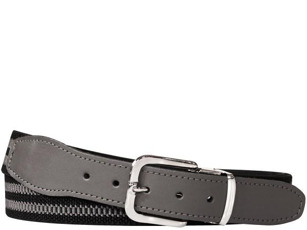 Hochwertiger Elastik- Stoffgürtel Schwarz / Grau mit Grauen Leder Endstück - Bundweite bis 160 verfü