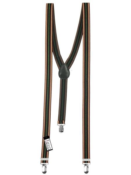 Hosenträger in Rot-Schwarz-Grün gestreift, Y-Form