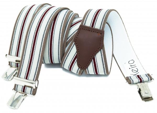 Hochwertige Hosenträger in Trendigen Grau-Braun-Rot Design