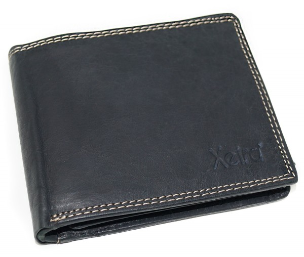 Vintage Geldbörse aus 100% Echt Leder Schwarz / Braun im Querformat