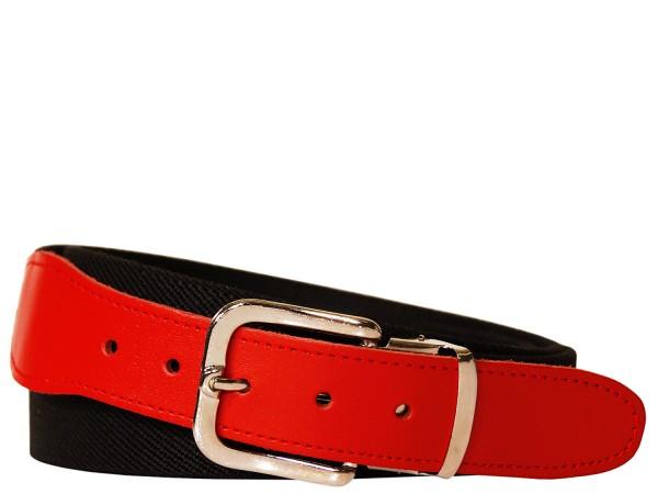 Stretchgürtel / Stoffgürtel - Uni Schwarz mit rotem Leder