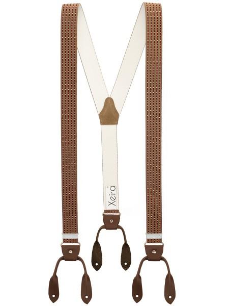 Hosenträger in Vintage Braun Bordeaux Design mit Lederriemen