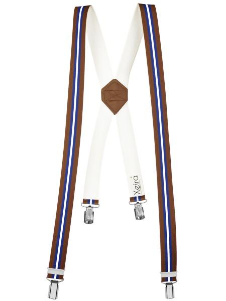 Hosenträger 4 Clips in Braun Blau Weiß Gestreiften X Muster