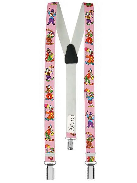 Kinder Hosenträger Clown Design Rosa