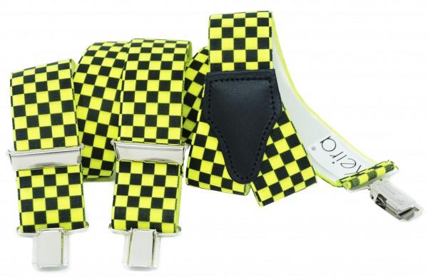 Hosenträger in Neon Farben Kariert Design mit 3 Clips Neon Gelb NL