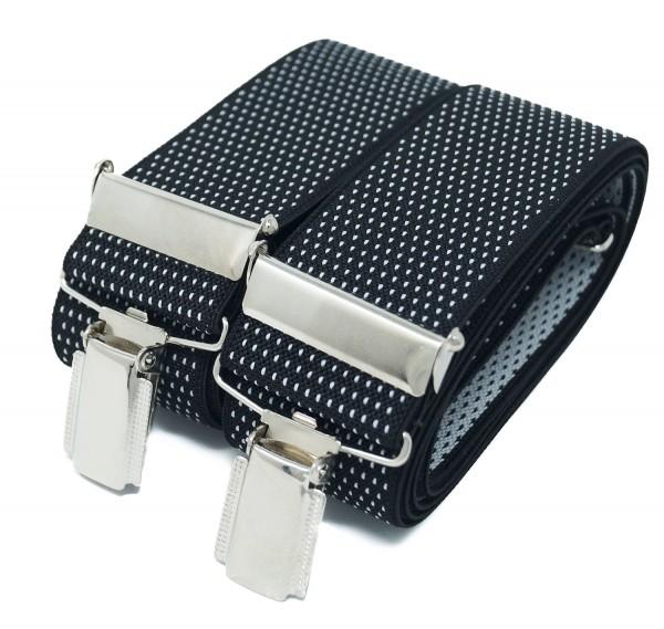 Hosenträger X Design 4 Clips Schwarz / Weiß Punkte - 120cm