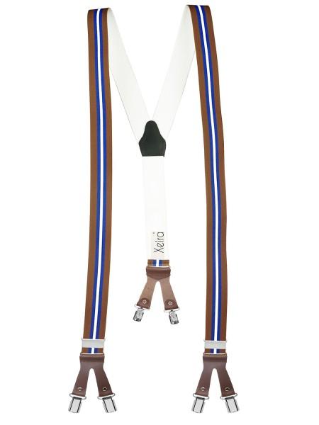 Hosenträger in Gestreift Design mit Lederriemen und 6 Clips