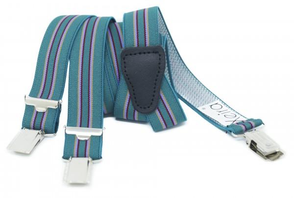 Hosenträger 25mm Breite Gestreiften Farben Design und 3 Clips Grün Standard